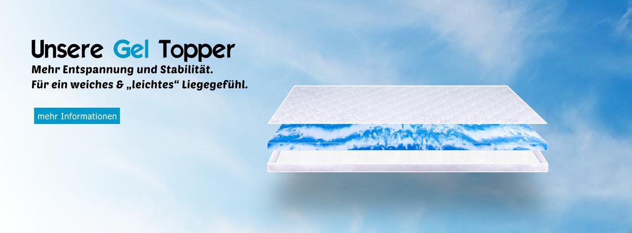 Gelschaum Topper HydroBlu Gel Komfort Matratzenauflage RG40kg/m³ Größe wählbar